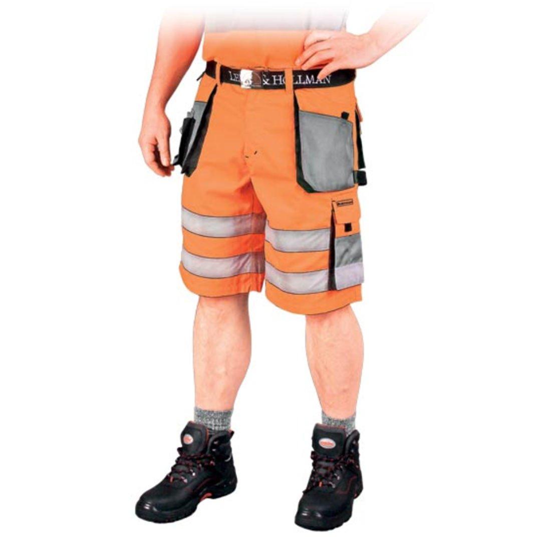kurze Warnschutzhose mit Reflektionsstreifen orange neon gelb Arbeitshose Warnschutz Sicherheitshose orange L