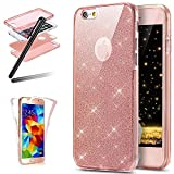 iPhone 5 Soft Case,iPhone 5S TPU Case,iPhone SE Full Body Case,SKYMARS Bling Glitter Sparkly [Slim Thin] Soft TPU Silicone Slim Fit Scratch Resistant Front and Back Full Body 360 Degree Protection Gel Bumper Case For iPhone 5 / 5S / SE Pink