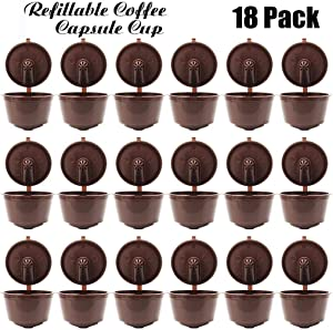 JETTINGBUY 18Pcs Refillable Coffee Capsules Cup, Durable Reusable Coffee Pods Filter Cup for Dolce Gusto, Compatible