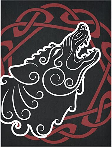 InterestPrint Tapestry Wolf On Celtic Style Wall Hanging Room Bedroom Dorm Home Decor Tapestrie 60X80 Inch