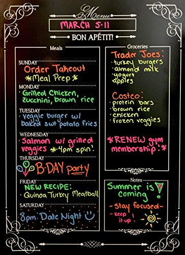 Weekly Menu | Magnetic Chalkboard Style Refrigerator Meal Planner | Grocery Shopping List | Dry Erase Board | Large Calendar | Kitchen Organizer | Smooth Black Surface | Waterproof | 11 x 15 inches