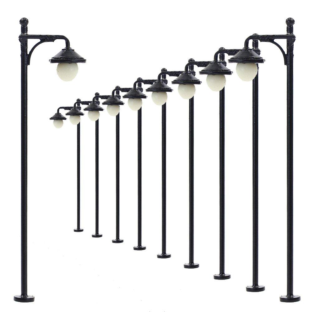 LYM22 10pcs Model Railway Train Lamp Post Street Lights HO OO Scale LEDs NEW