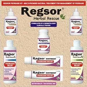 Regsor Psoriasis Starter Kit, (Pack of 2 Regsor Ointment Tubes, 2 Regsor Oil Bottles, 1 Regsor Shampoo, 1 Regsor Soap, 1 Regsor Capsule Bottle)