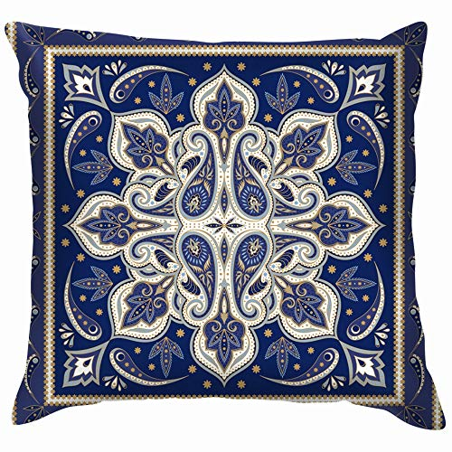 Indian Paisley Silk Scarf Azerbaijan Vintage Cotton Throw Pillow Case Cushion Cover Home Office Decorative, Square 18X18 Inch ()
