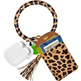 Keychain Bracelet,SHANSHUI Wristlet Circle Key Ring Bangle Card Pocket for Women