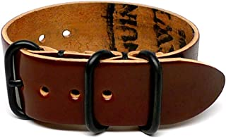 product image for DaLuca Shell Cordovan 1 Piece Military Watch Strap - Color 4 (PVD Buckle) : 26mm