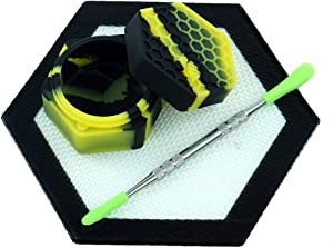 Black/Yellow Silicone Wax Container Non Stick Food Grade 26ml Hexagon Honeybee Jar 5'' Concentrate Mat Pad by X-Value