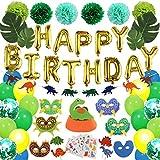 Dinosaur Party Supplies, Satkago 95 Pcs Birthday Decorations Set for Kids Birthday Party Favors with Dinosaur Felt Garland, 24 Latex Balloons, 24 Dinosaur Cake Topper, Dinosaur Party Masks