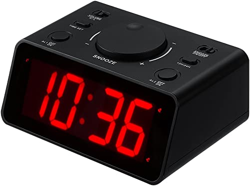 KWANWA LED Digital Desk Alarm Clock Battery Powered only, Dual Alarm with Extra Loud Volume,3 Levels for Brightness,1.2 inch Red Numbers Display Black