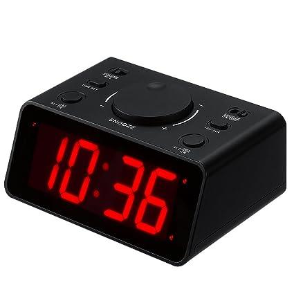 Kwanwa inalámbrico Digital LED Reloj de Alarma Dual Fácil de configurar 2 alarmas con 1,2