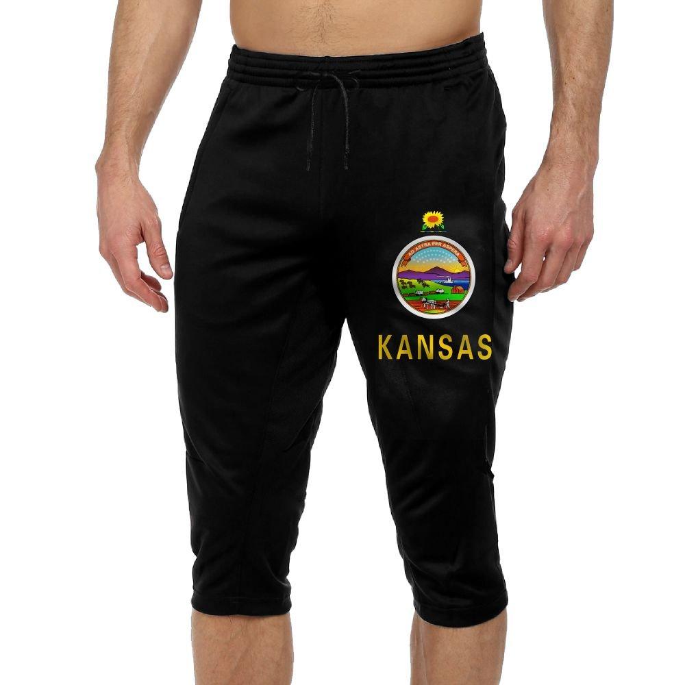Men's Novelty Performance Kansas State Flag Print Crop Sweatpant Capri Pants Drawstring Legging Pants Black Medium