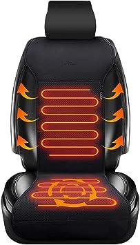 12V Cuscino del Sedile Riscaldato per Auto Coprisedile riscaldato per Auto 2 Pezzi Auto Imbottito Riscaldato Seggiolino Copertura er accendisigari Universale per Auto Camion Ufficio e Casa