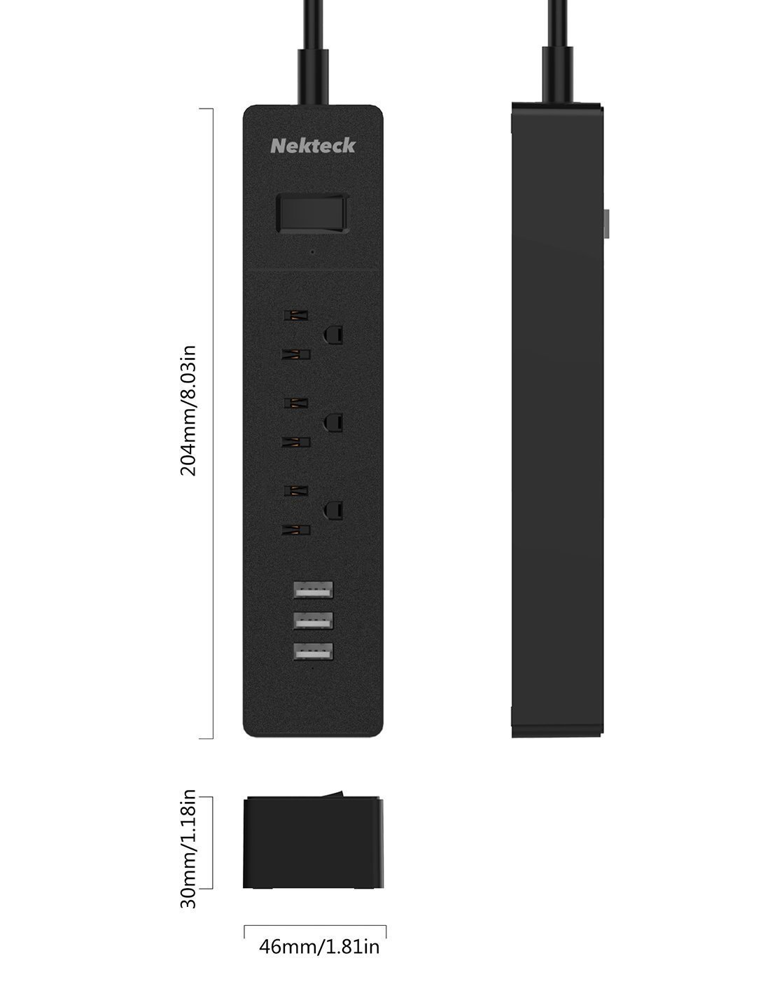 Nekteck Travel Power Strip/Surge Protector Flat Wall Plug with 3 AC Outlets, 15W 3-Port USB Charger for iPhone, iPad, Samsung Galaxys, Nexus, Tablets, LG and More [4.8ft Cord, 3AC, 3 USB] - 2 Pack