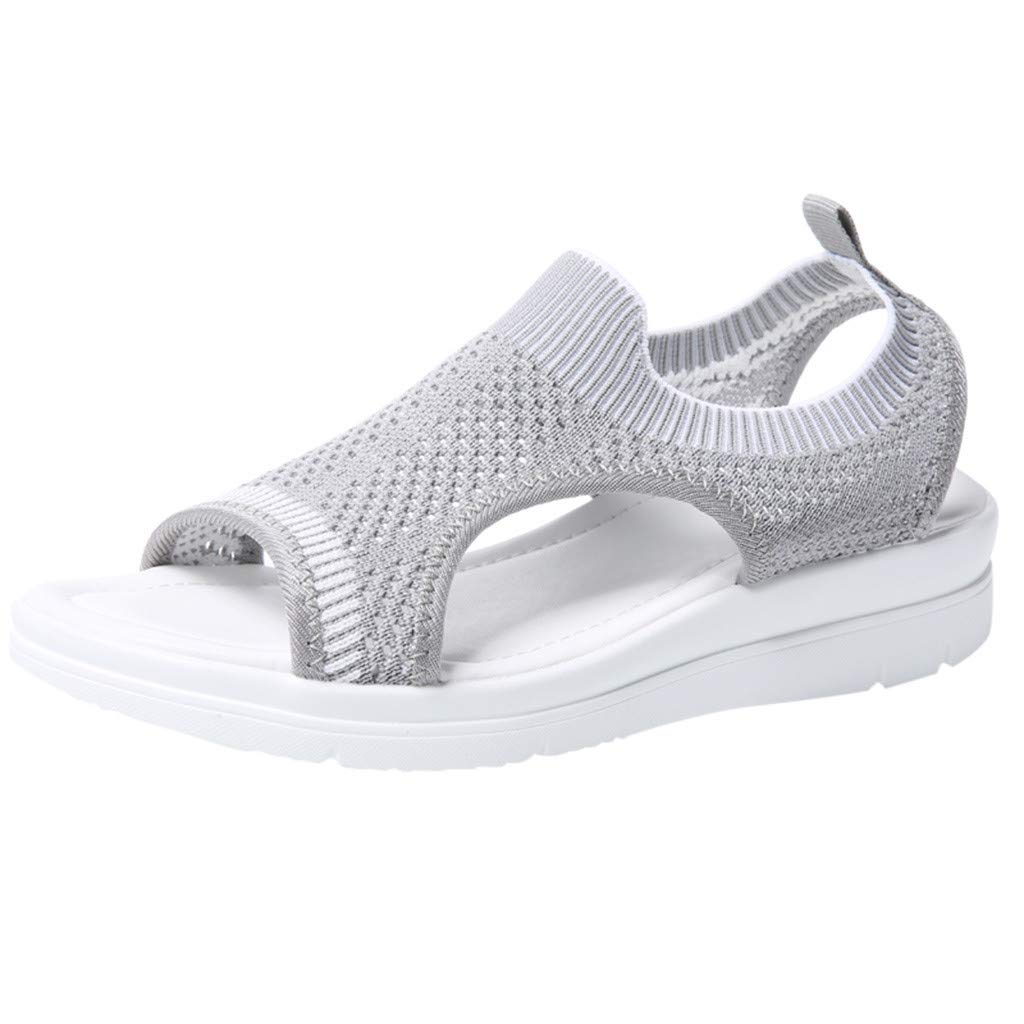 Women's Platform Sandals Thick Wedge Open Toe Flat Sandals Casual Summer Flip Flop Shoes Loafers Sneakers Gray