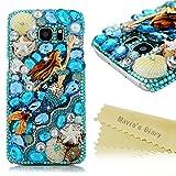 Mavis's Diary Galaxy S7 Edge Case Luxury 3D Handmade Bling Crystal Mermaid with Shiny Blue White Diamond Glitter Rhinestone Gems Shell Clear Hard PC Cover for Samsung Galaxy S7 Edge (2016)