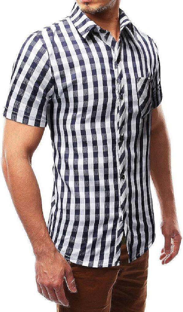 Vska Mens Lapel Collar Plaid Silm Fit Short Sleeve Classic Dress Shirt