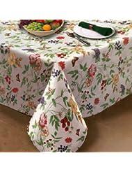 "Enchanted Garden Flannel Backed Vinyl Tablecloth Indoor Outdoor 60""x84"" Oblong (Rectangle)"