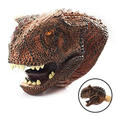 Bandi Toys Dinosaur Hand Puppet for Kids Soft Rubber Realistic Carnotaurus Head Hand Puppets: Toys & Games