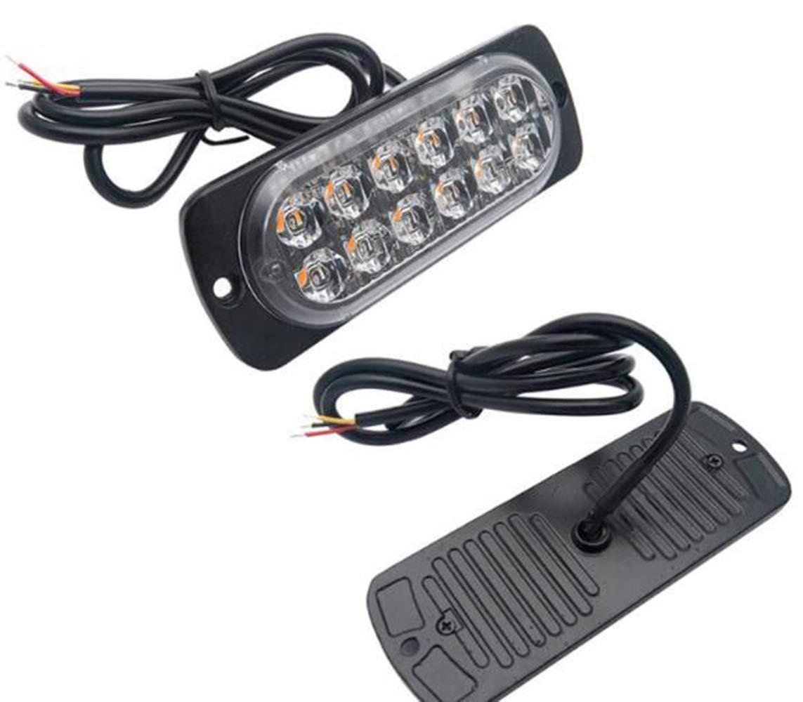 Jaune 2pcs 4 LEDs Feux de P/én/étration Camion Lumi/ère Stroboscopique 12W /à 19 Modes IPX4 pour Voiture Camion v/éhicule SUV DC 12-24V