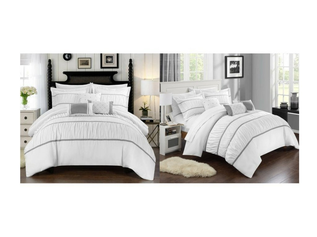 Bed in a Bag Bedding Comforter Set,Queen,White