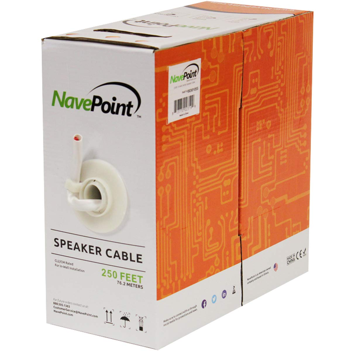 NavePoint 250ft in Wall Audio Speaker Cable Wire CL2 14/2 AWG Gauge 2 Conductor Bulk White by NavePoint