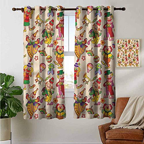 petpany Bathroom Curtains Circus,Comedian Musical Clowns Kids,Room Darkening Waterproof Curtains for Bathroom 42