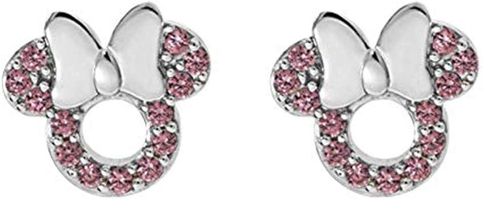Disney Micky Mouse Stud Earrings 14K Yellow Gold Fn Peridot CZ Stone Alloy Womens Girls Kids Jewellery