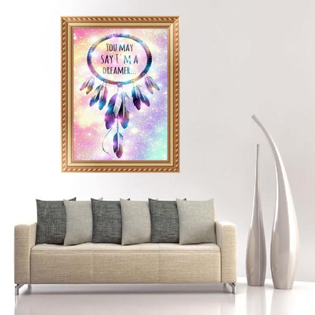 Sansee Creativity 5D DIY Dream Catcher Diamond Painting Embroidery Cross Craft Stitch Home Decor Art 30*40cm Colour B