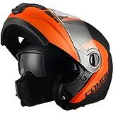 Triangle Motorcycle Helmets Matte Modular Dual Visor Flip Up High Performance [ DOT ] Orange (Medium)