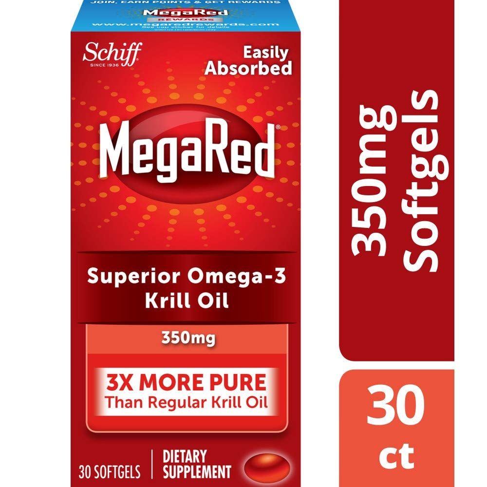 MegaRed 350mg Omega-3 Krill Oil - No fishy aftertaste as with Fish Oil, 30 softgels by Megared