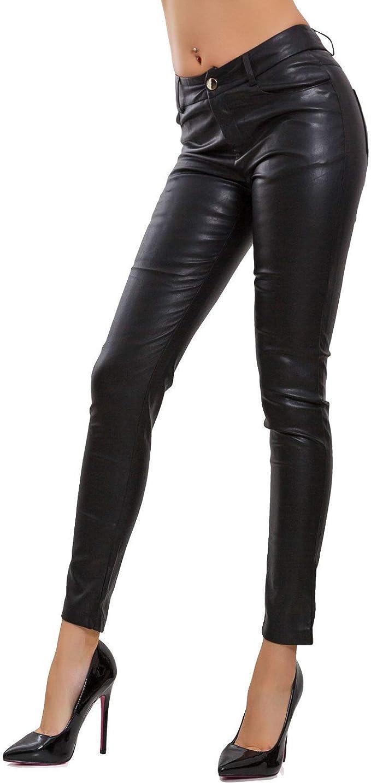 Pantaloni donna eco pelle similpelle zip cerniera posteriore apribile V2893-1