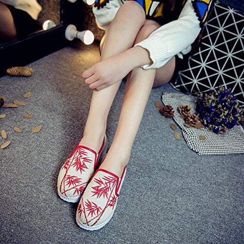 ICEGREY Damen Handgemachte Gestickte Blume Plateau Schuhe Sneaker Rot