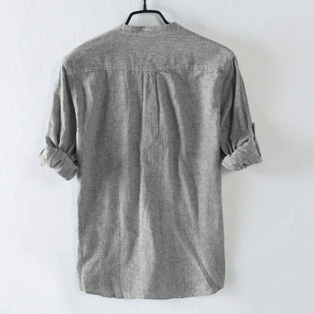 Mens Summer t Shirts Short Sleeve Tronet Mens Baggy Cotton Breathable Striped Button Pocket Plus Size Long Sleeve Shirts