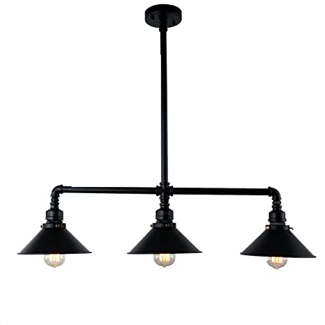 Unitary Brand Black Antique Rustic Metal Shade Hanging Ceiling