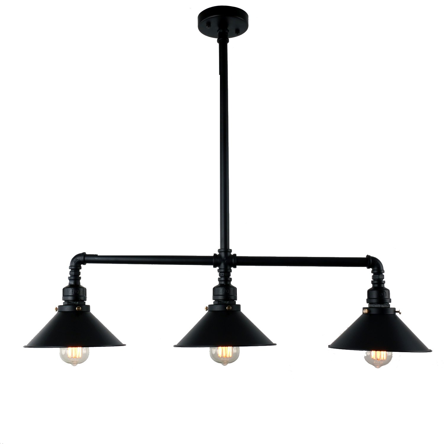 Light Fixture Brands: UNITARY BRAND Black Antique Rustic Metal Shade Hanging