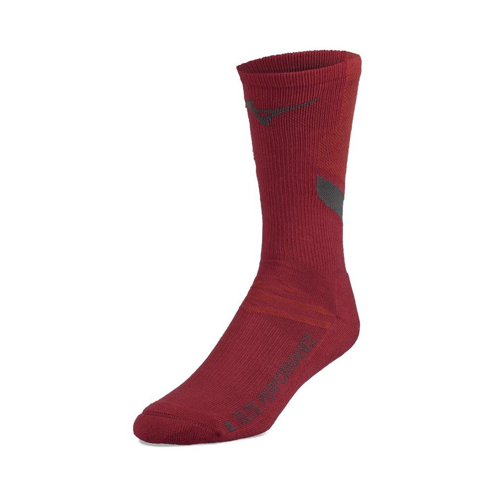 Mizuno Volleyball Runbird Crew Socks, Red, Large