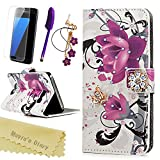 Image of S7 Case,Samsung Galaxy S7 Case,Mavis's Diary 3D Handmade Wallet with Bling Crystal Purple Flower Shiny Diamonds Butterfly Card Holders Magnetic Flip Folio Cover & Dust Plug & Screen Protector & Stylus