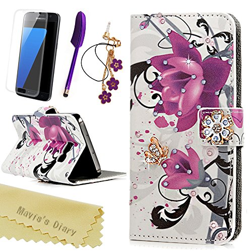 A Cut Above Costumes - S7 Case (NOT for S7 Edge), Mavis's Diary 3D Handmade Wallet with Bling Crystal Purple Flower Diamonds Butterfly Card Holders Magnetic Flip Cover & Dust Plug & Screen Protector & Stylus