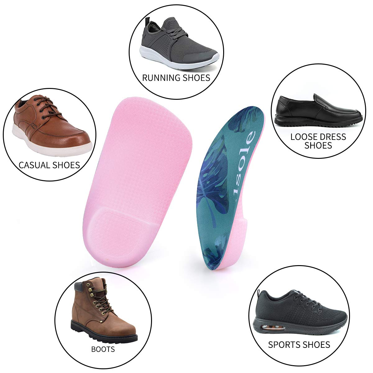 Heel Spurs V139a-green, Men9-11//Women10-12 Over-Pronation Valsole 3//4 Orthotics Shoe Insoles High Arch Supports and Deep Heel Cup Shoe Inserts Flat Feet Relief Plantar Fasciitis