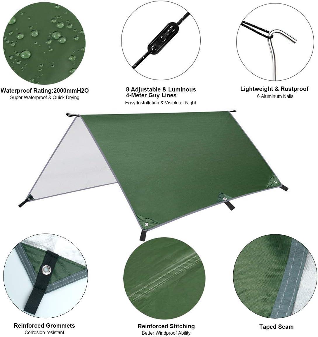 Dokpav Toldo de Refugio Impermeable 3M*3M port/átil Mochila Refugio para Camping Impermeable Hamaca Tienda de campa/ña Ligera Senderismo
