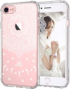 MOSNOVO White Peace Mandala Floral Lace Pattern Designed for iPhone 7 Case - Clear