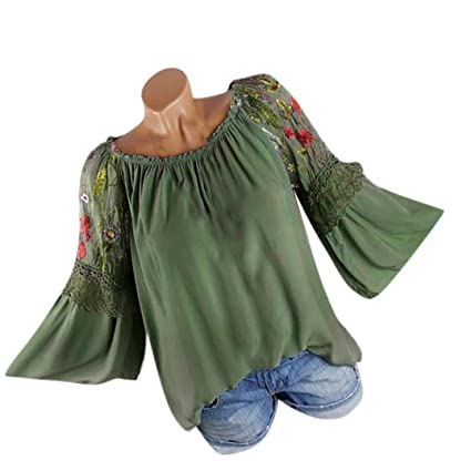 e344fb39bdf Image Unavailable. Image not available for. Color  KFSO Fashion Women Plus  Size O-Neck Blouse Floral Embroidery Lace Flare Sleeve T-
