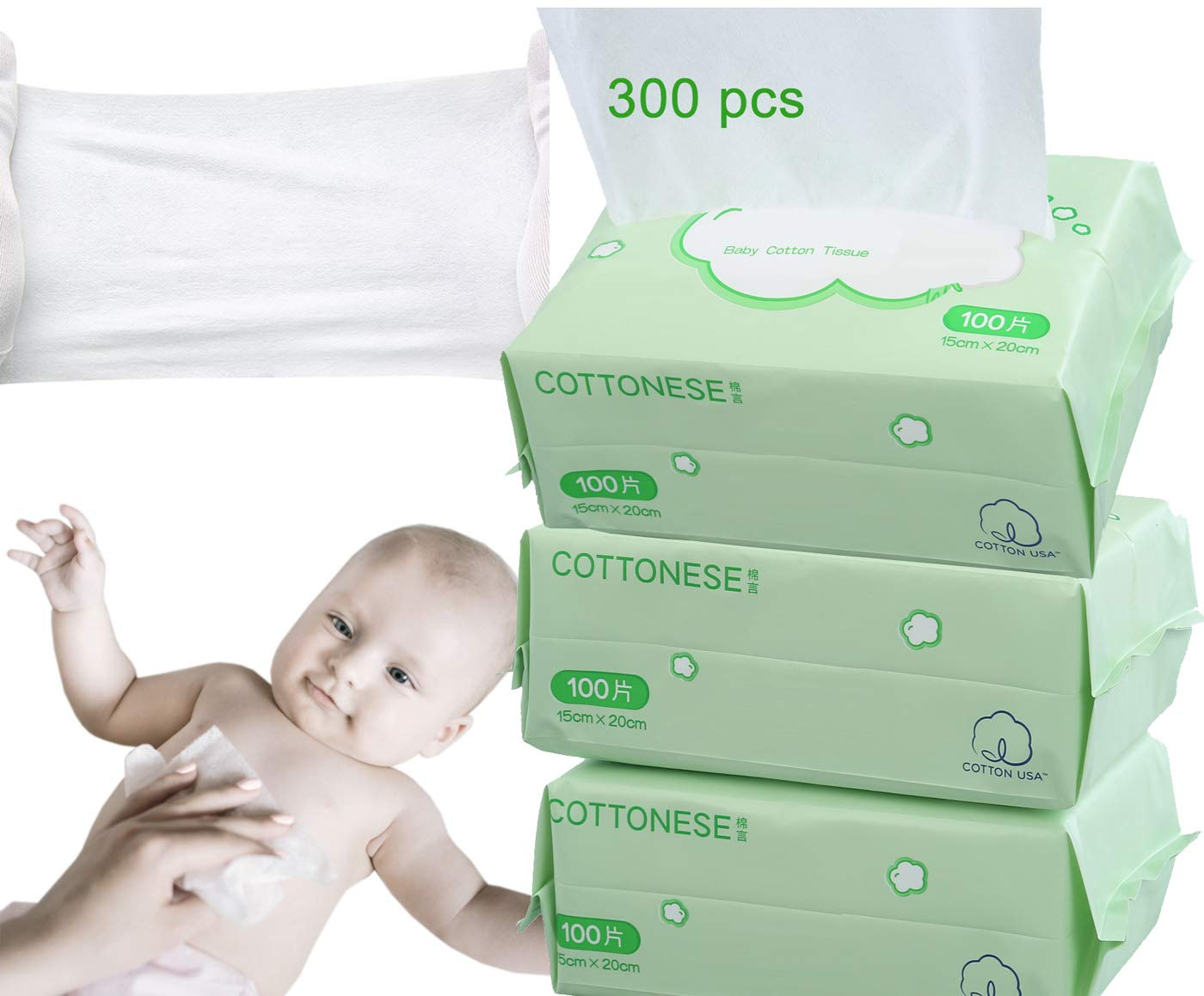 Baby Child Dry Wipe Soft Dry Cotton Wipes 3 Packs 300 Count,Disposable Cleansing Cloths,Great for Sensitive Skin and can be used as Baby Washcloths