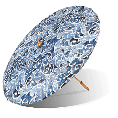 Lily-Lark Denim Vine UV protection sun parasol, rated UPF 50+ by Lily-Lark