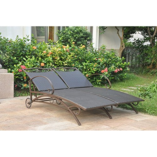 Valencia Resin Wicker/Steel Multi Position Double Chaise Lounge (Resin Wicker Lounge Chaise)