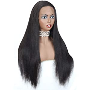 ANGIE QUEEN Full Lace Wigs Human Hair Straight Hair Wig 12inch For Black Women 150% density Brazilian Virgin Hair Glueless Pre Plucked Nature Color Hair Can Be Dyed to Color 27