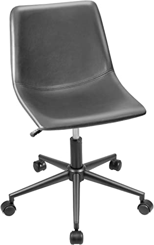 Furmax Mid Back Task Chair PU Leather Adjustable Swivel Office Chair Bucket Seat Armless Computer Chair Modern Low Back Desk Conference Chair Gray