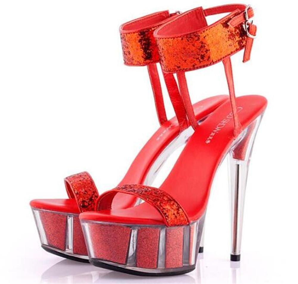 Frauen Plattform Schuhe Party Club Plattform Frauen Kristall Stöckelabsatz Pailletten Glitter Knöchelriemen Sandalen Größe 35 bis 41  ROT 4b8638