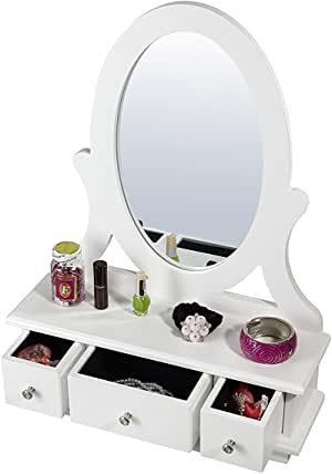 Uniware Elegant Jewelry Box with Drawer and Up-Right Mirror, White