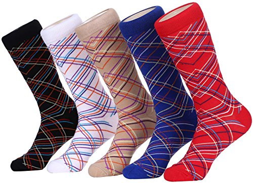 Marino Mens Patterned Dress Socks, Colorful Fun Socks, Fashion Cotton Socks - 5 Pack - Multi Directional Striped - 10-13 -